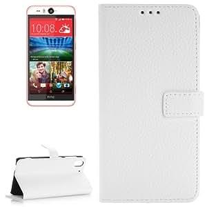 Texture lichis Horizontal con solapa Magnetic Buckle Funda con tapa Case Cover Slots & Wallet Card Holder & para HTC Desire Eye/M910X (White)