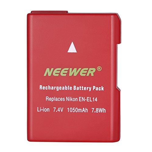 Neewer Li-ion Battery Replacement for Nikon EN-EL14 EN-EL14A, 7.4V 1050mAh Rechargeable, Compatible with Nikon D3100 D3200 D3300 D5100 D5200 D5300 D5500 DF P7000 P7100 P7200 P7700 P7800 Cameras (Red)