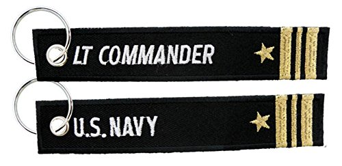 (Eagle Crest U.S. Navy Lieutenant Commander Black Embroidered Key Chain)