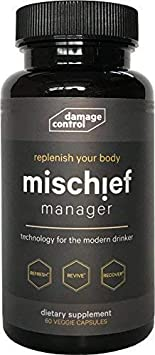 Mischief Manager Anti Hangover and Hangover Prevention Anti Alcohol Supplement Pills with Liver Support Myricetin Dihydromyricetin DHM , Milk Thistle, Nootropics, Adaptogens