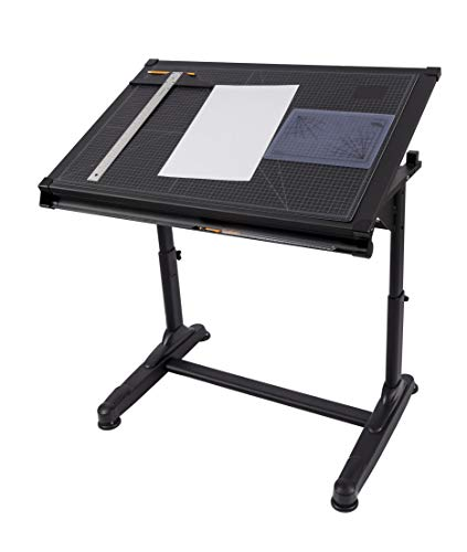 Stand Up Desk Store Height Adjustable Drawing and Drafting Table with 39.2W x 27.5 D Surface, Black
