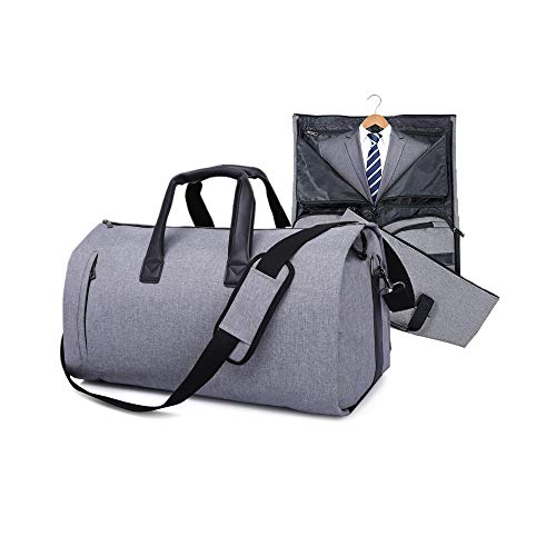 Carry On Garment Bag for Travel & Business Trips with Shoulder Strap Duffel Bag with Shoe Pouch (Gray) -