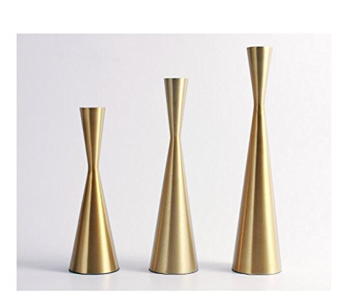 Set of 3 Brass Gold Metal Taper Candle Holders Candlestick Holders, Vintage & Modern Decorative Centerpiece Candlestick Holders for Table Mantel Wedding Housewarming Gift (Brass Golden, S+M+L/SET) by KiaoTime (Image #5)