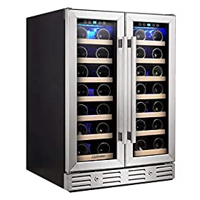Kalamera Wine Cooler – Fit Perfectly into 24 inch Space Under Counter or Freestanding – Dual Zone – For Kitchen or Bar with Blue Interior Light and Temperature Memory Function