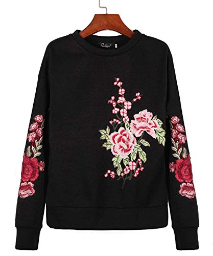 Printemps Sweaters Femmes et Noir Broderie Blouse Pullover Hauts Fashion Col Manches Longues Rond Sweat Shirts Pulls Shirts Jumpers Automne T rrqdwIU
