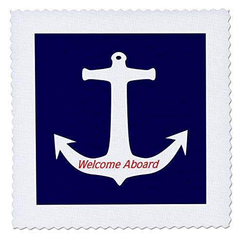 3dRose Lens Art by Florene - Nautical Decor - Image of Welcome Aboard White Anchor On Navy Blue - 8x8 inch Quilt Square (qs_306836_3) ()