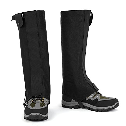 FiveJoy Iceberg Waterproof High Hiking Gaiters (Men and Women) - Keep Boots and Legs Dry in Snow, Water, Mud - Lightweight, Durable, Breathable Rain and Shoe Legging Cover for Skiing Hunting Climbing