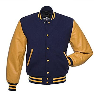 C136 Navy Blue Wool Gold Leather Letterman Jacket Varsity Jacket
