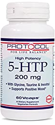 Protocol For Life Balance - 5-HTP 200 mg - with Glycine, Taurine & Inositol to Support Positive Mood - 60 Vcaps