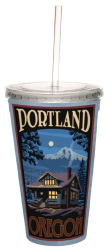 TreeFree Greetings 80418 Winter Cabin Portland by Paul A. Lanquist Artful Traveler Double-Walled Acrylic Cool Cup with Straw, 16-Ounce, Multicolored