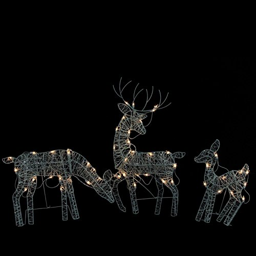 Lighted Reindeer Decorations - Set of 3 White Glittered Doe, Fawn and Reindeer Lighted Christmas Yard Art Decoration