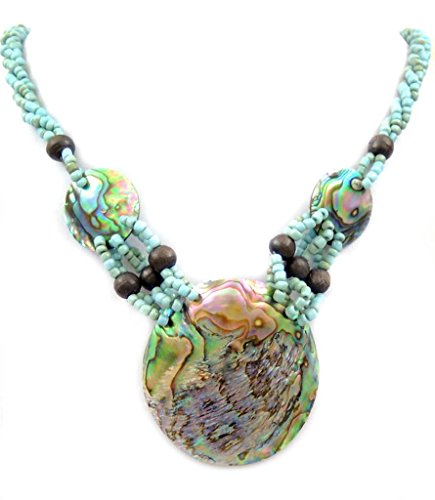 Swimmi Handmade Iridescent Paua Abalone Shell Beads Necklace: GA369
