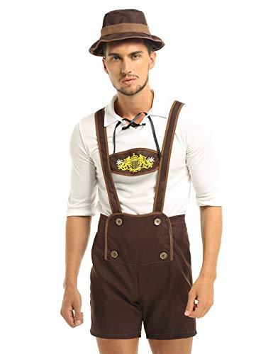 FEESHOW Adult Men Mr Oktoberfest German Lederhosen Costumes Beer Bavarian Guy Set Brown XXL