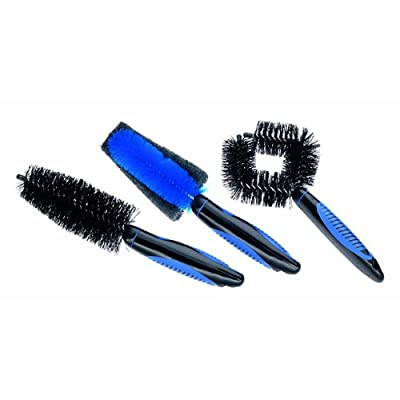 Point 29266901 Cleaning Brush Set of 3 Circular Brush/Tyre Brush/Rim Brush/Ergonomic Grip Black: Sports & Outdoors