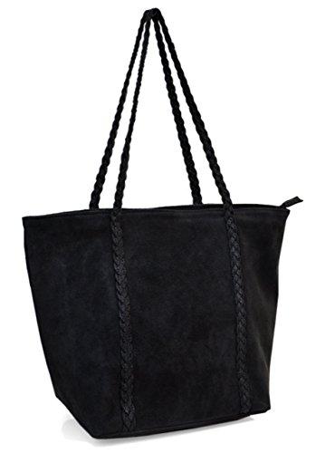 Lae In Einkaufstasche Kalbsleder, Samt und Pailletten, Made in Italy, mehrere Farben Noir - Tresse paillettée