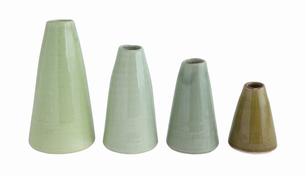 Heart of America 4 Assorted Styles Terra Cotta Vases Green - 8 Pieces