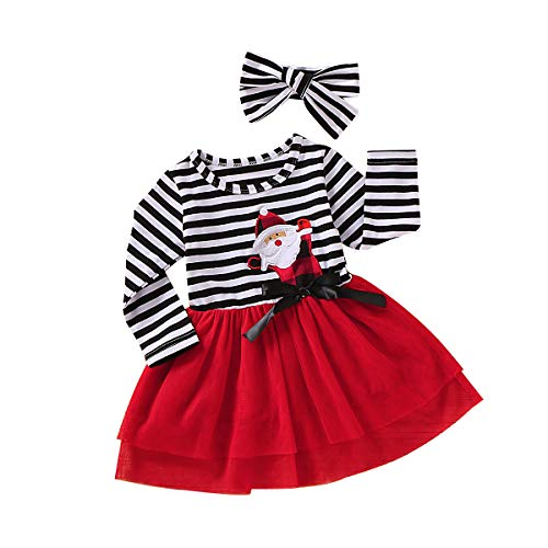 2Pcs Toddler Kids Baby Girl Christmas Outfit Santa Striped Long Sleeve Tutu Dress Headband Clothes Set with Bowknot 4-5T