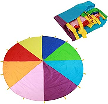 AVANI EXCHANGE 7M Rainbow Umbrella Juego para niños Paracaídas Jardín de Infantes Actividades para Padres e Hijos Early Learning Rally Umbrella Rainbow Umbrella: Amazon.es: Juguetes y juegos