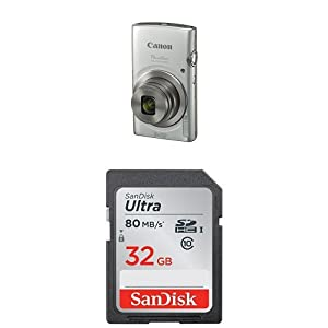 Canon PowerShot ELPH 180 Digital Camera (Silver) and SanDisk 32GB Memory Card