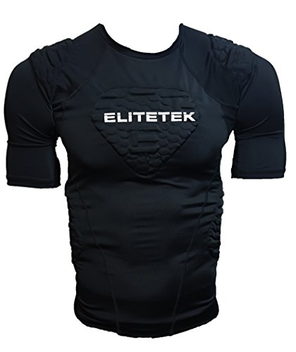 EliteTek Padded Compression Shirt - CPS14 - Youth and Adult Sizes (Black, Adult M)