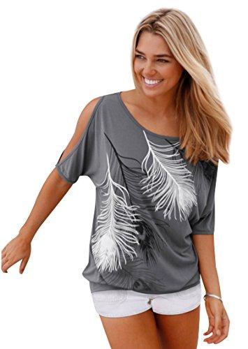 Trägerlos Damen Schöne Oversize Shirt Lockere Rundhals T Für WHeDE2IYb9