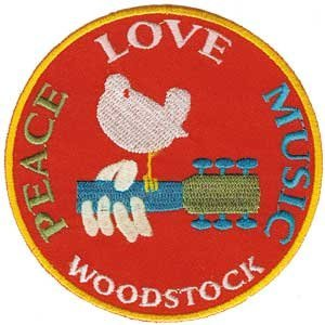 Dove Applique - The Woodstock Musical Festival - Love, Music, Peace Dove Logo Patch