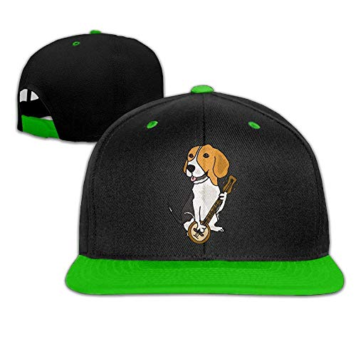 (Funny Beagle Dog Playing Banjo Men's Adjustable Snapback Hip Hop Dad Hat Cap Flat Brim White Baseball Cap for Men Women)