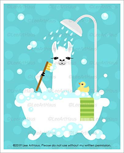 47J - White Llama in Bubble Bath Tub UNFRAMED Wall Art Print by Lee ArtHaus