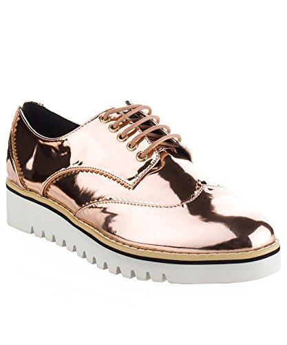 - CAPE ROBBIN Women's Fashion Patent Leather Metallic Flatform Lace up Platform Oxford Shoes Rose Gold (8.5)