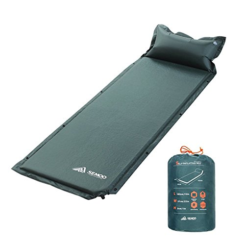 SEMOO Self-Inflating Camping Sleeping Mat/pad, 190T Polyester, Water Repellent Coating, with Attached Inflatable (Sleeping Bag With Pillow Attached)