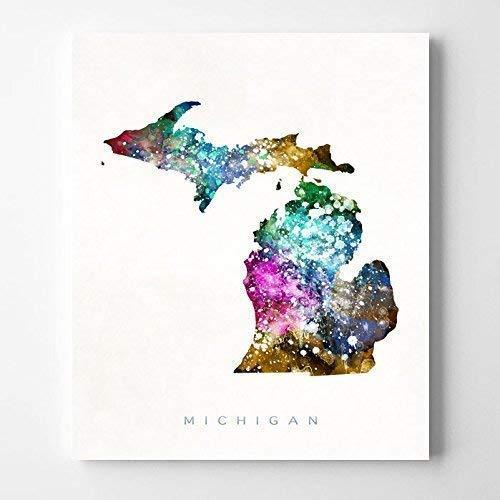 Michigan Map USA Watercolor Art Print Michigan Ink Splash Map Poster Art Canvas