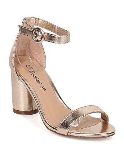 Metallic Open Toe Heels - 5