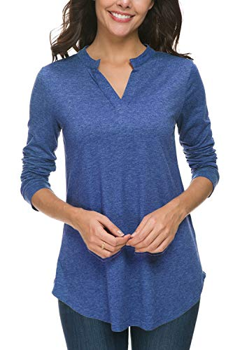 Zattcas Womens Tunic Top, Women Casual Long Sleeve V Neck High Low Blouse Shirt Tops (Medium, Heather Royal Blue)