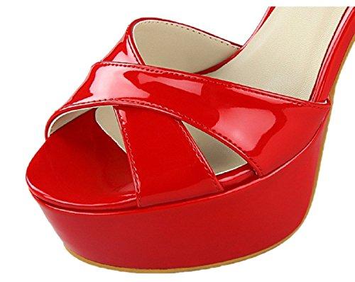 HooH Women's Peep Toe D'Orsay Platform Buckle Wedding Sandals Red wvhlZmYDWY