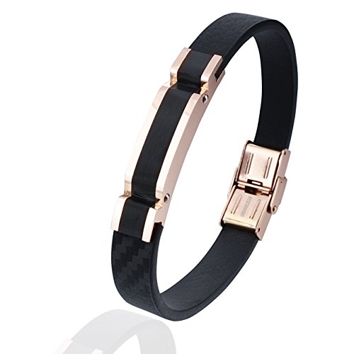Stainless Rubber Bracelets Steel Leather (AMITER Men and Women Leather Bracelet Rose Gold Polished Matched Brushed Black Stainless Steel Chain -Best Jewelry Accessories)