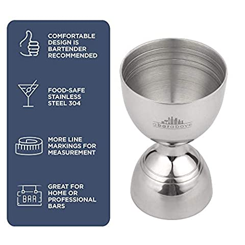 Silver Bell Jigger with Measurements Inside – Cocktail Measuring Jigger – Stainless Steel Measuring Tool for Bartenders…