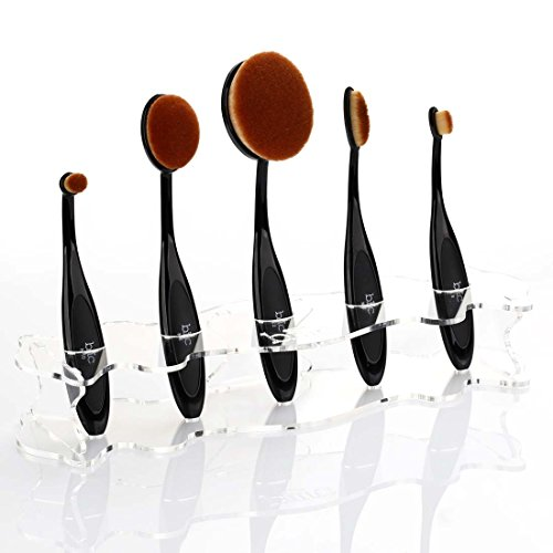 M A C Professional Makeup Brushes - BMC Clear Acrylic 5 Slot Luminous Perfecting Curve Makeup Brush Holder Stand