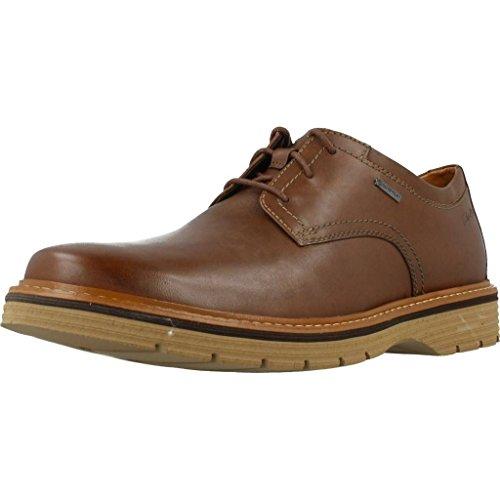 Clarks Elegante Casual Hombre Zapatos Newkirk Go Gtx En Piel Marrón Tamaño 41½