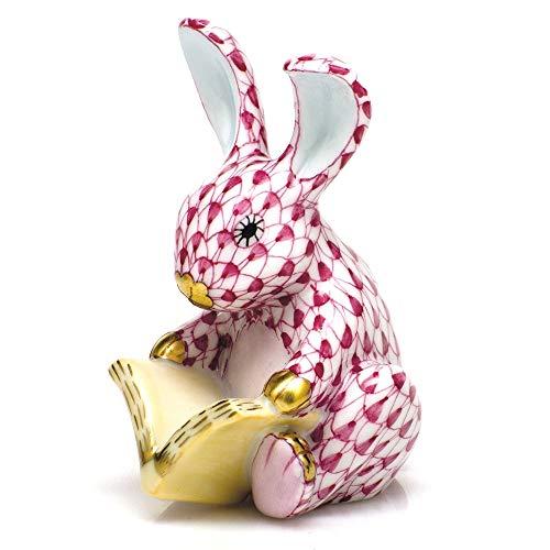 Herend Storybook Bunny Rabbit Porcelain Figurine Raspberry Fishnet