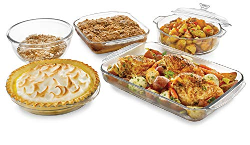 Covered Oval Deep Dish (Libbey Baker's Basics 5-Piece Glass Casserole Baking Dish Set with 1 Cover)