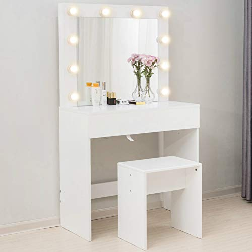 Mecor Makeup Vanity Table w/10 LED Lights Mirror,Vanity Set with Stool&Drawer,Wood Dressing Table Bedroom Furniture Girls Women Gifts White
