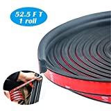 TIIARS 52.5FT Universal Self-Adhesive Car Door Seal Strip | Relieve Collision Soundproofing Hollow Automotive Truck Door Window Weather Stripping for Engine bonnet Trunk Lid Front and Rear Doors (B Shape | 16m | 1 roll)