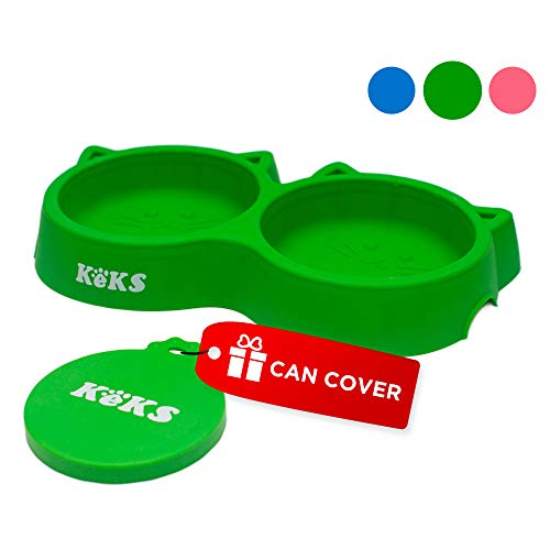 Cat Bowls – Cat Food Set of Silicone Cat Feeder Stand & Pets Food Can Cover – Cat Food Bowl Set – Cat Dish Set – Kitten…