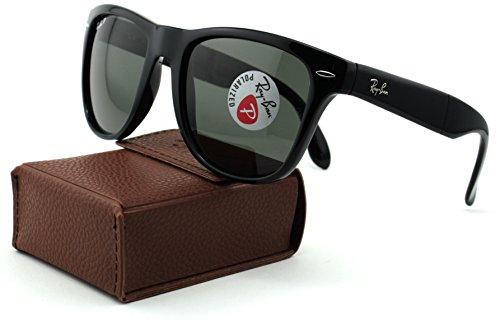 Ray-Ban RB4105 Folding Wayfarer Polarized Unisex Sunglasses (Black Frame/Crystal Green Polarized Lens 601/58, 54)