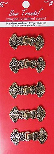 Sew Trendz-Vision Trims Metal Frogs Button Closures-Antique Gold-Paisley Flower - 5 Pair/pk