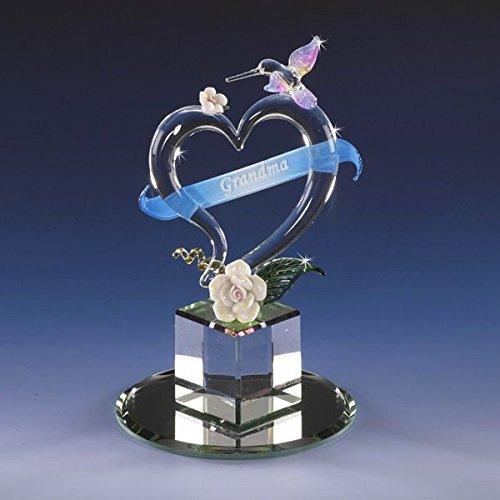 Collectible Crystal Grandmother's Day Hummingbird Heart Inscription Glass Ribbon