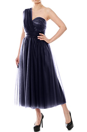 MACloth Women Midi Strapless Convertible Wedding Party Bridesmaid Dress Gown Azul Marino Oscuro