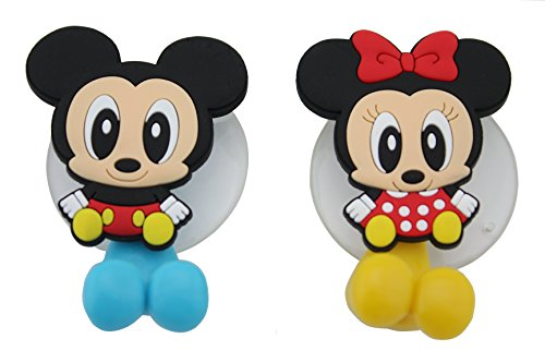 Finex® Mickey Mouse & Minnie Mouse Toothbrush Holders *Set of 2* with Suction Cup for wall in bathroom (Mickey And Minnie Bathroom Set)