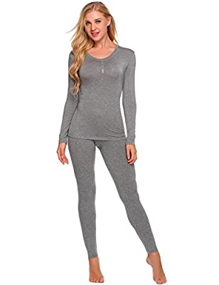 Pagacat Women's Thermal Underwear Sets Solid 2 Pcs Long Johns Soft Top and Bottom S-XXL