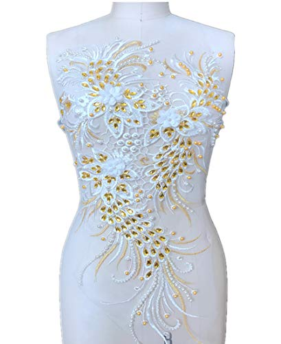 1Piece Golden Lace Applique Ivory White Lace Fabric for sale  Delivered anywhere in USA